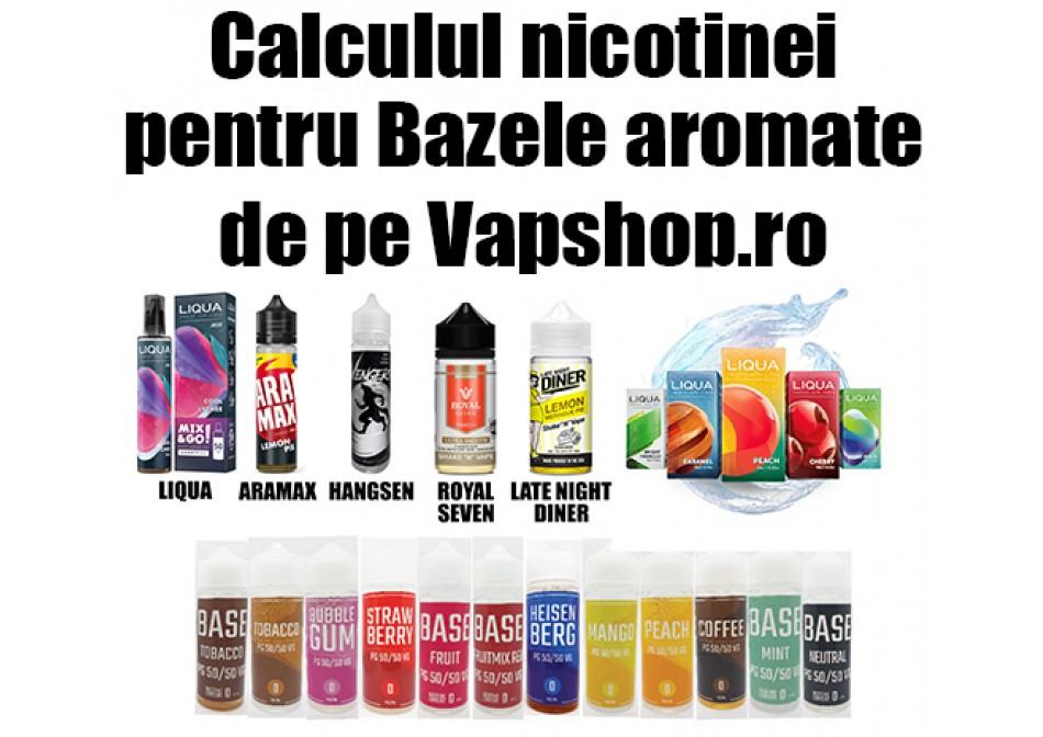 Calculul nicotinei pentru Bazele aromate de pe Vapshop.ro